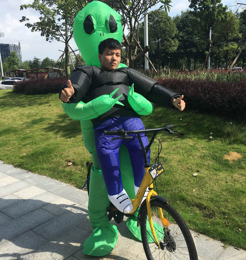 Inflatable Monster Costume Scary Green Alien Mascot Halloween Purim Party Cosplay Costume for Adult