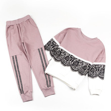 Children clothing sets autumn Sports Suits size for 5 6 8 9 10 11 12 years girls 2018 new cute cotton pink casual Sportswear