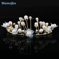 Mamojko Luxury Imitation Pearls Accessory Crown For Woman Wedding Hair Accessories Fashion Jewelry New Charms Tiara