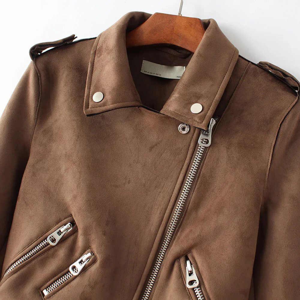 0296e1cc228f ... YOCALOR Suede Zipper Bomber Baseball Jacket Ladies  Leather Basic Za  Womens Autumn Jackets For Female ...