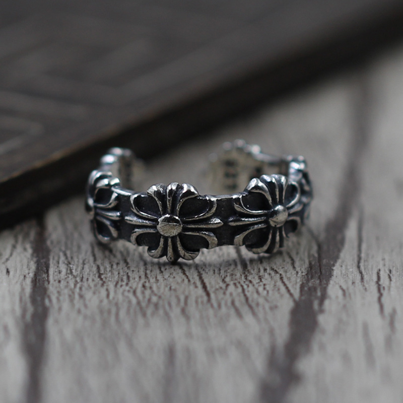 S925 Sterling Silver Jewelry Retro Cross Army Flower Ring Finger Ring Thai Silver Personality Men And Women Ring