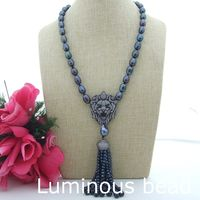 FC071909 23 Black Pearl Necklace Lion CZ Pave Pendant