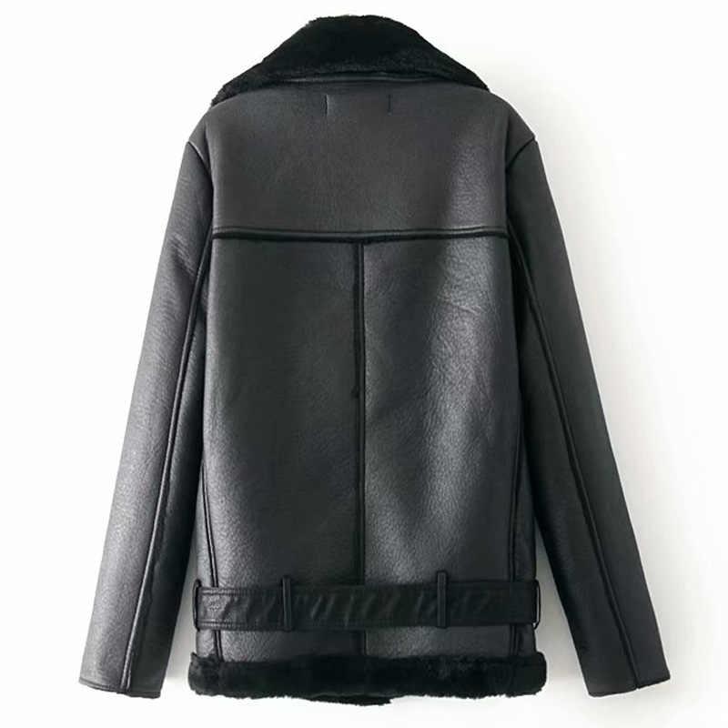 Warm vrouwen winter motorfiets fluwelen jasje vrouwelijke korte revers bont dikke Koreaanse versie plus fluwelen jasje 2019 bomberjack