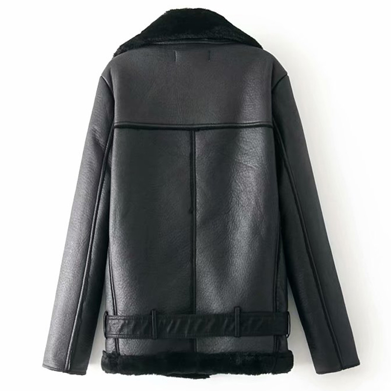 Warm women's winter motorcycle velvet jacket female short 6