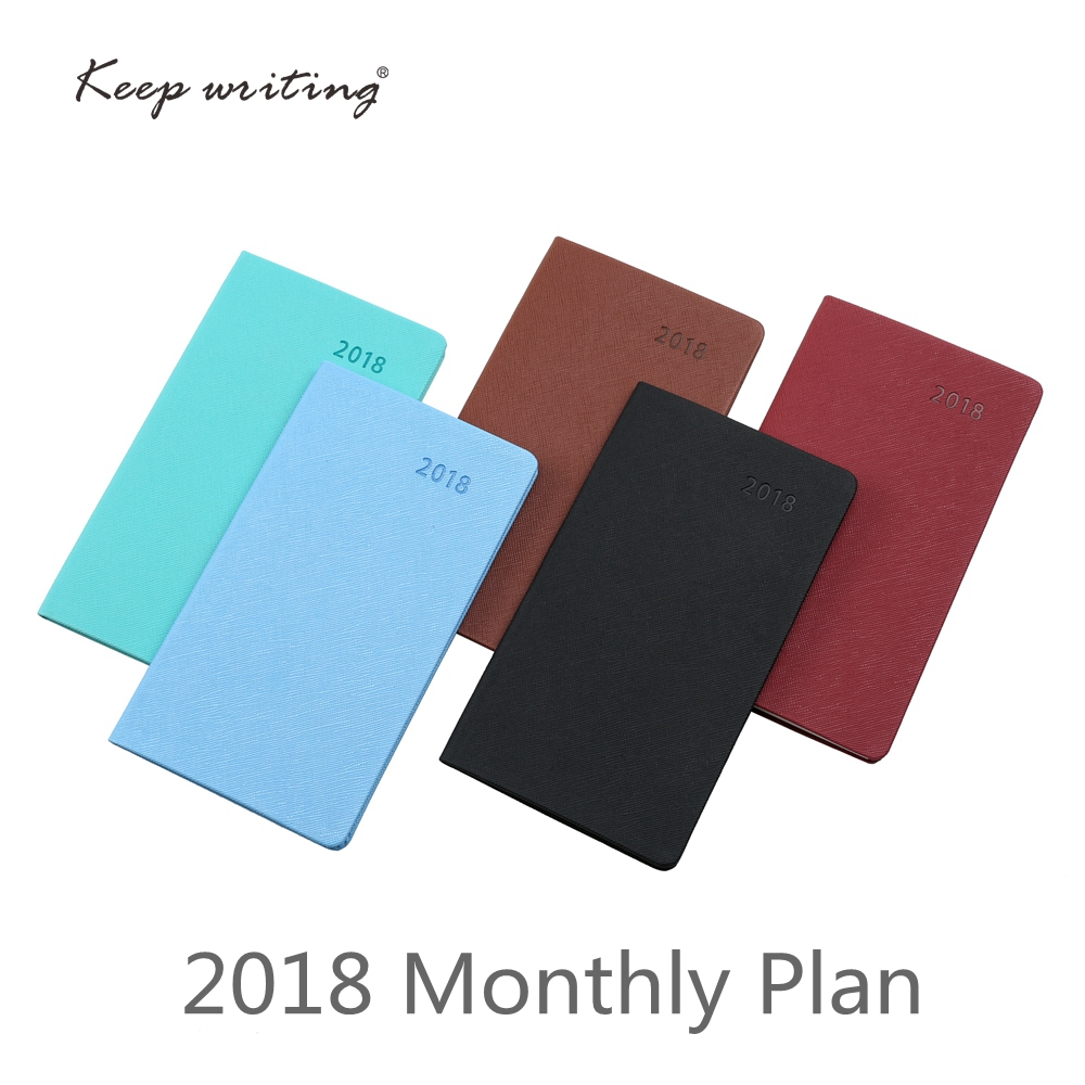2018 Calendar Month Planner A6 Monthly plan Notebook 26 sheets 100gsm paper stationery agenda Journal notes pocketbook 5 colors girly notebook stationery suit clips pens daily plan agenda sticky notes great value planner organizer set cute journals series