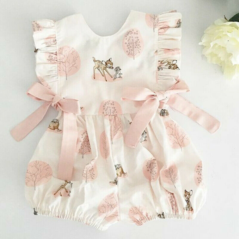 Bow-knot Clothes Casual Infant Baby Girls Deer   Romper   Long Jumpsuit Sunsuit Cute Kids Summer Cotton Outfits One Piece Costume