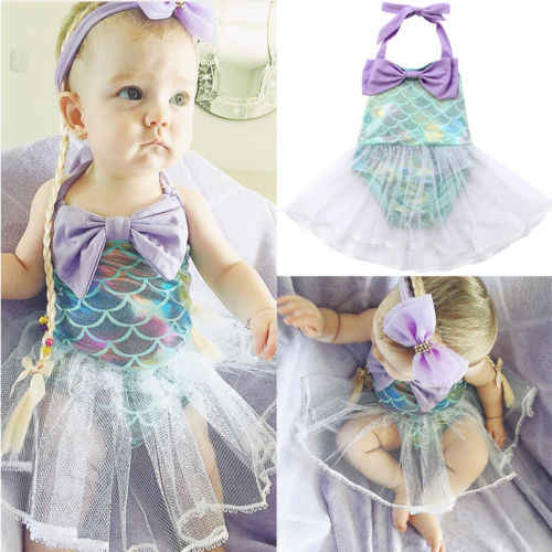 Princess Baby Girl Mermaid Romper Dress Kids Girls Cartoon Bikinis Swimwear Bathing Suit Costume Toddler Summer Beachwear