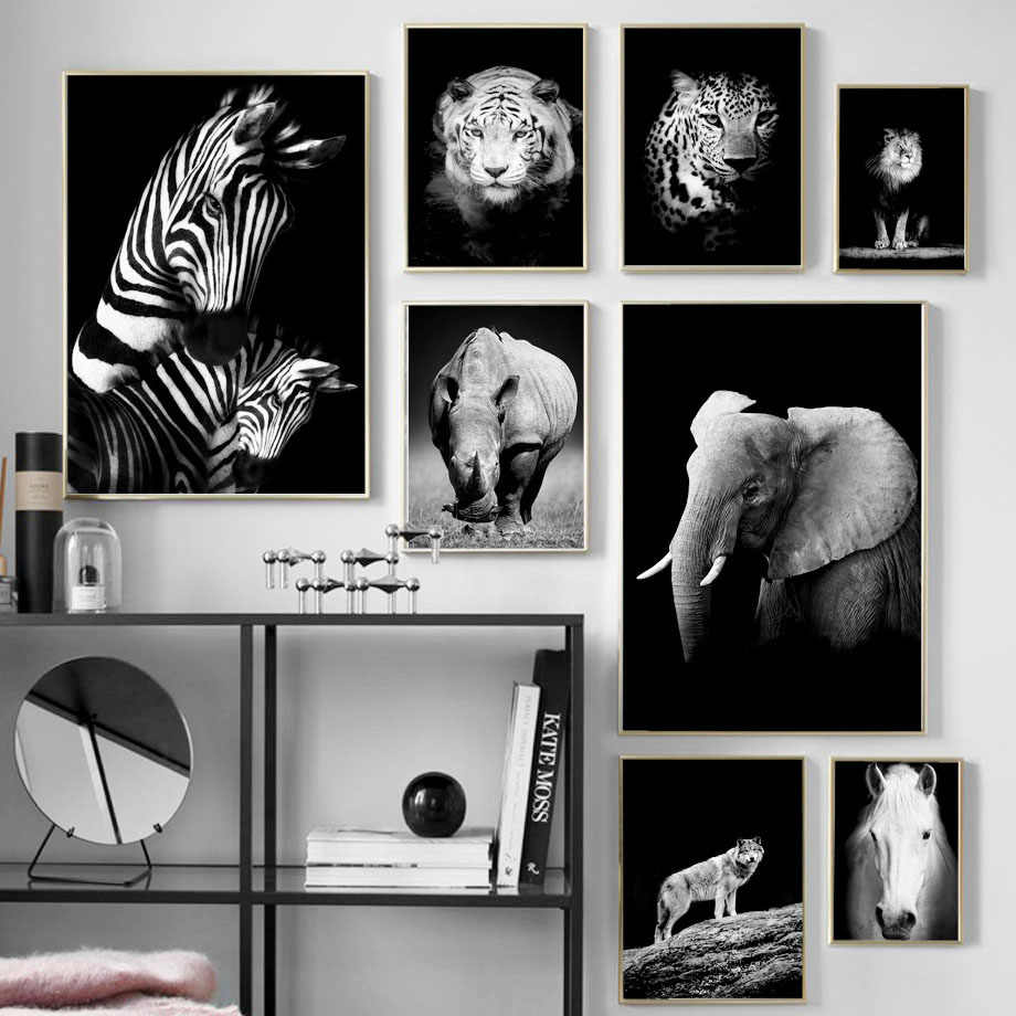 Black white tiger lion wolf rhinoceros wall art canvas painting nordic posters and prints wall pictures