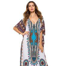 357b374fc 2018 السيدات مثير الخامس الرقبة البوهيمي فستان طويل الأفريقي العرقية طباعة  شاطئ فستان الشمس إمرأة الصيف فضفاضة خمر قفطان ماكسي ف.