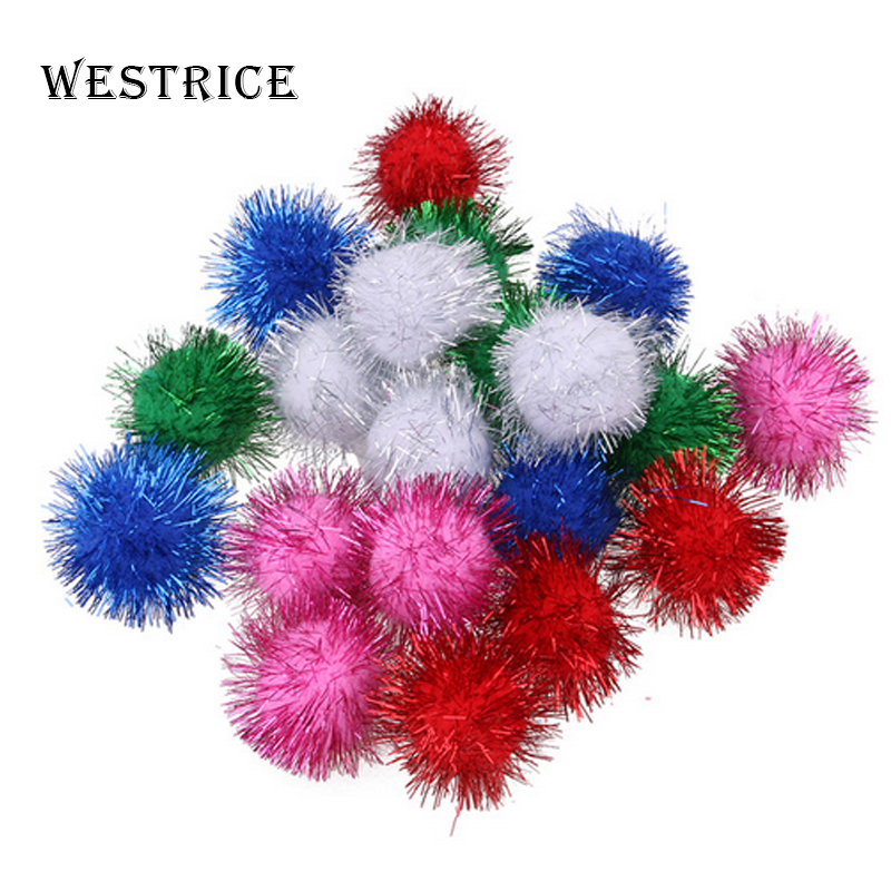Westrice 4cm Shiny Beads In Various Colors Shipped Randomly Nylon Material Cat Toys and Dog Toys Pet Toy Ball