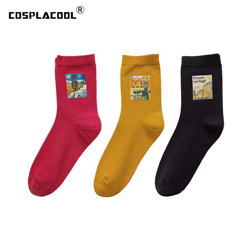[COSPLACOOL]Japanese Style Hipster Skarpetki Funny Socks Art Abstract Oil Painting Socks Women Creative Sokken Chaussette Femme