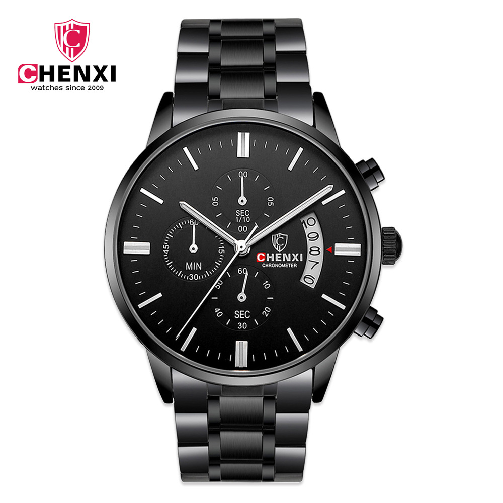 CHENXI Mens Watches Top Brand Luxury Quartz Watch Mens Hour Date Clock Full steel Fashion Casual Watch Men Military Wrist Watch forsining date month display rose golden case mens watches top brand luxury automatic watch clock men casual fashion clock watch