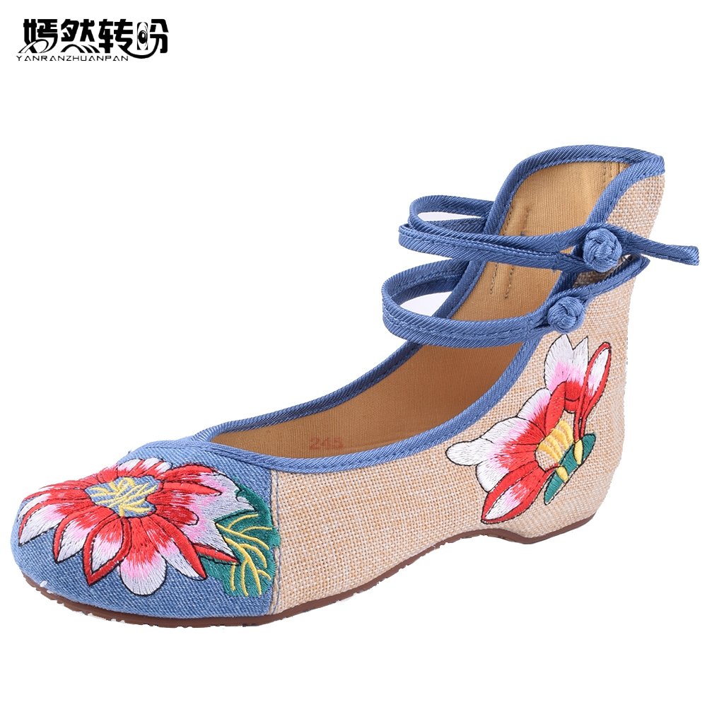 Women Flats Plus Size 41 Spring/Summer Woman Cloth Shoes Chinese Flower Embroidery Casual Dancing Flats For Woman Zapatos Mujer chinese women flats shoes flowers casual embroidery soft sole cloth dance ballet flat shoes woman breathable zapatos mujer