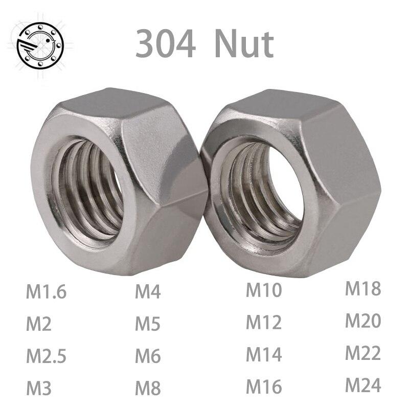 M1.6 M2 M3 M4 M5 M6 M8 M10 M12 M14 M18 M20 M24 M30 304 Stainless Hex Nuts DIN934