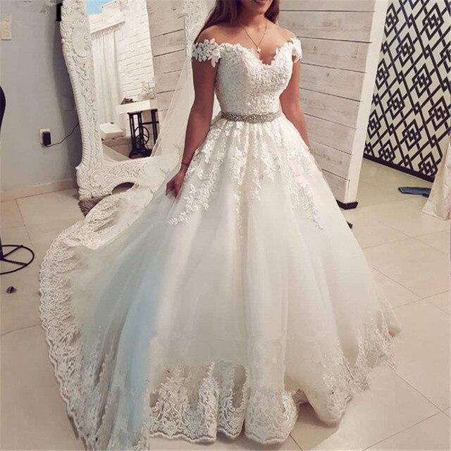 Vestidos de novia sin hombros de princesa 2020 escote corazón apliques encaje Línea A vestido de tul para bodas Vestidos de novia de talla grande