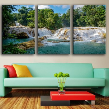 3 Piece Home Decoration Modern Canvas Wall Art AGUA AZUL WATERFALL CHIAPAS Oil Painting Picture Print On Canvas No Frame image
