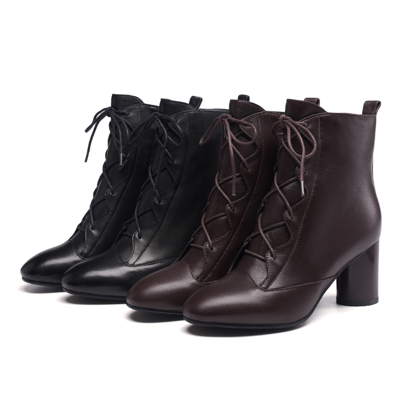 Universe soft sheep skin women ankle boots lace up shoes fashion high heel boots back wine red ladies winter bootsG252