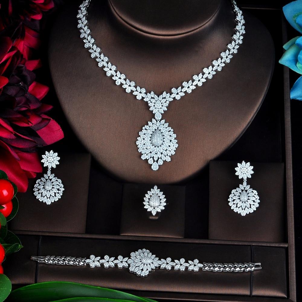 HIBRIDE New Full Cubic Zirconia Big Pendientes Jewelry Set For Women Bridal Wedding Accessories parure bijoux femme N-706