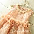[ Aamina ] venta al por mayor, princesa pétalos niñas vestidos, nuevo verano muchacha del niño ropa, 5 unids/lote ( P2052096 )