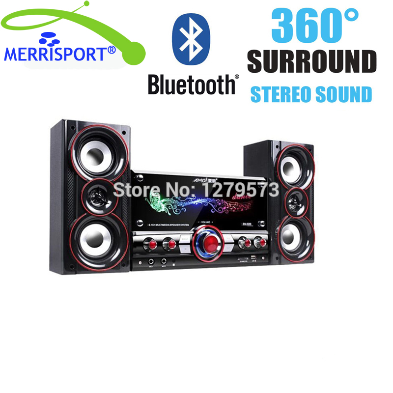 Bluetooth 2.1 Stereo Sound System Streaming Speakers With Subwoofer Hi-Fi Loud Speaker with SD Card, USB, AUX For Smartphones PC