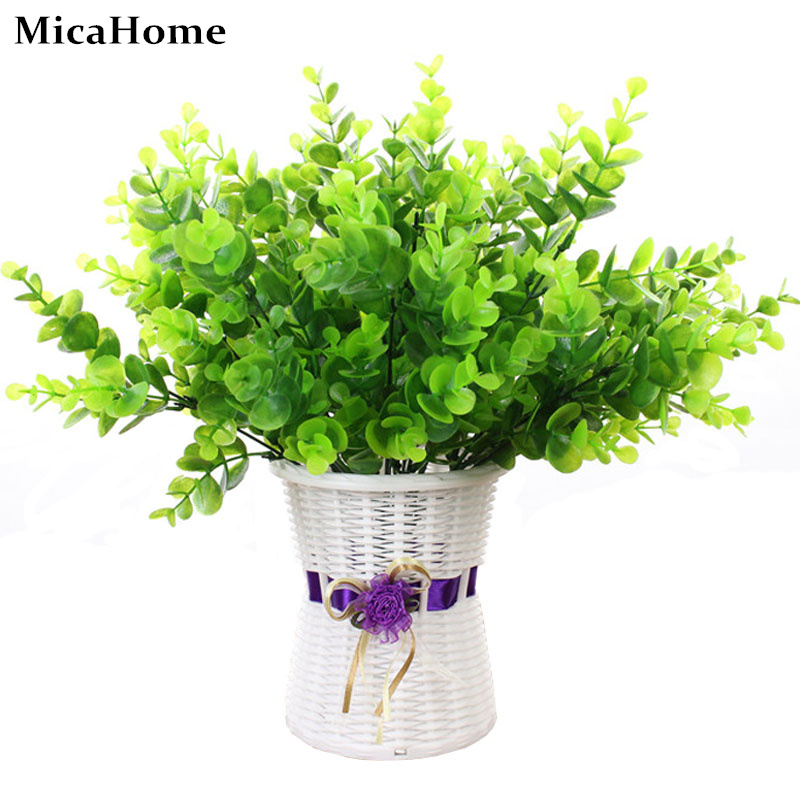 Artificial Flowers Plastic Green Grass 34cm Artificial Plant Flower Household Rustic Clover Plants Artificial Grass Wholesale
