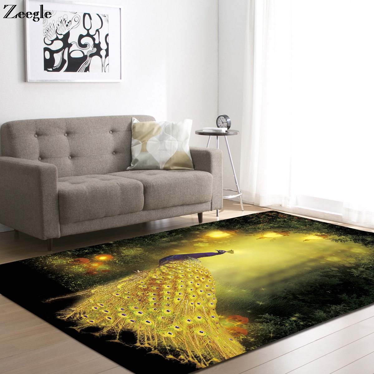 Washable Area Rugs Living Room: Aliexpress.com : Buy Zeegle Peacock Printed Large Size
