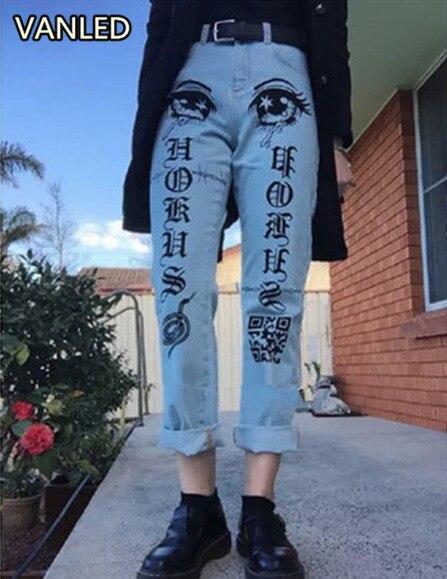 Gothic Punk Women's Jeans Letters Printing Tears Harajuku Denim Pants