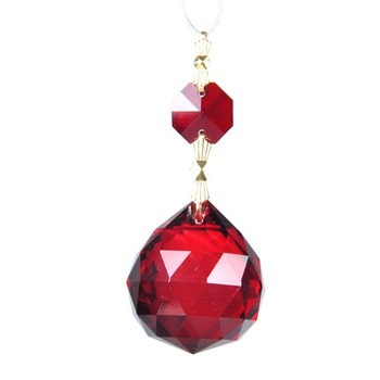 Factory Wholesale Sphere Red Art Glass Drops Chandelier Pendant Lamp Hainging Prisms Beads 30MM Home Decor Gift