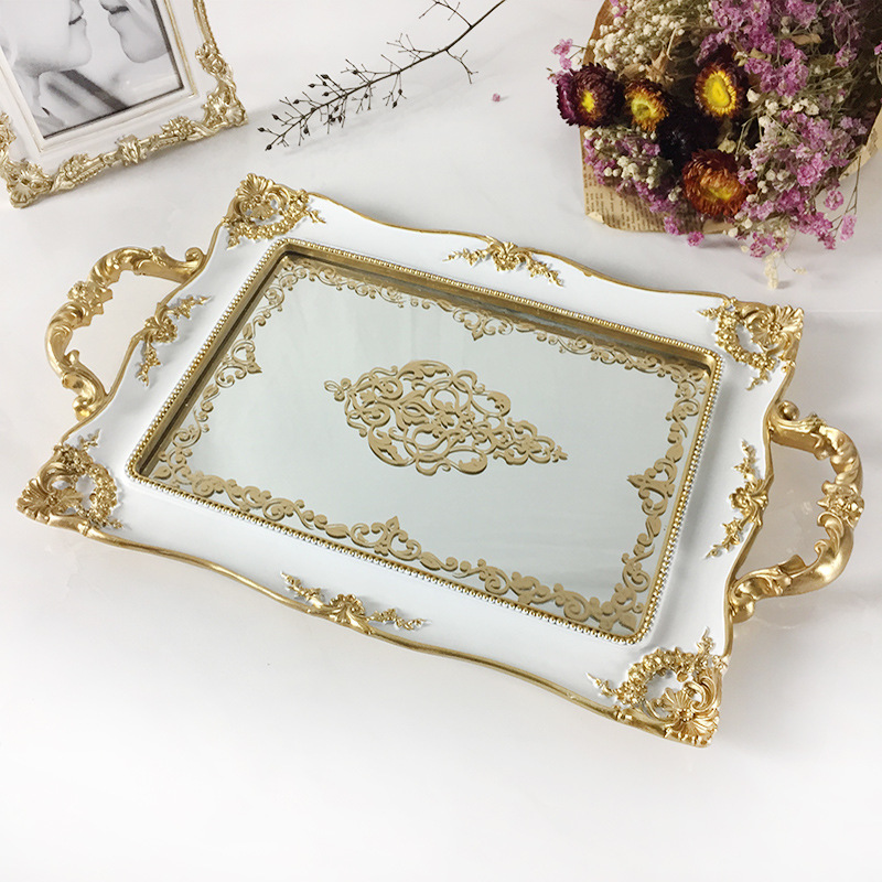 Retro Europe Resin Mirror plates bowls tray ivory white Palace carved flowers Golden mirror tray decoration Crafts(China)