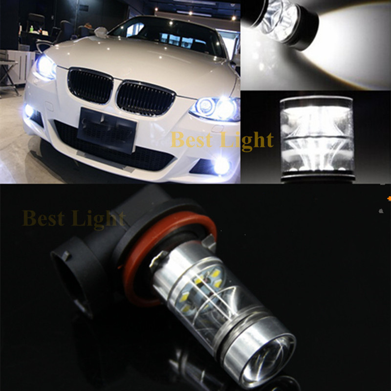 2Pcs For BMW E71 X6 M E70 X5 E83 F25 X3 E53  H11 H8 6000K White LED Fog Light DRL Canbus No Error Car Driving Running Lamp