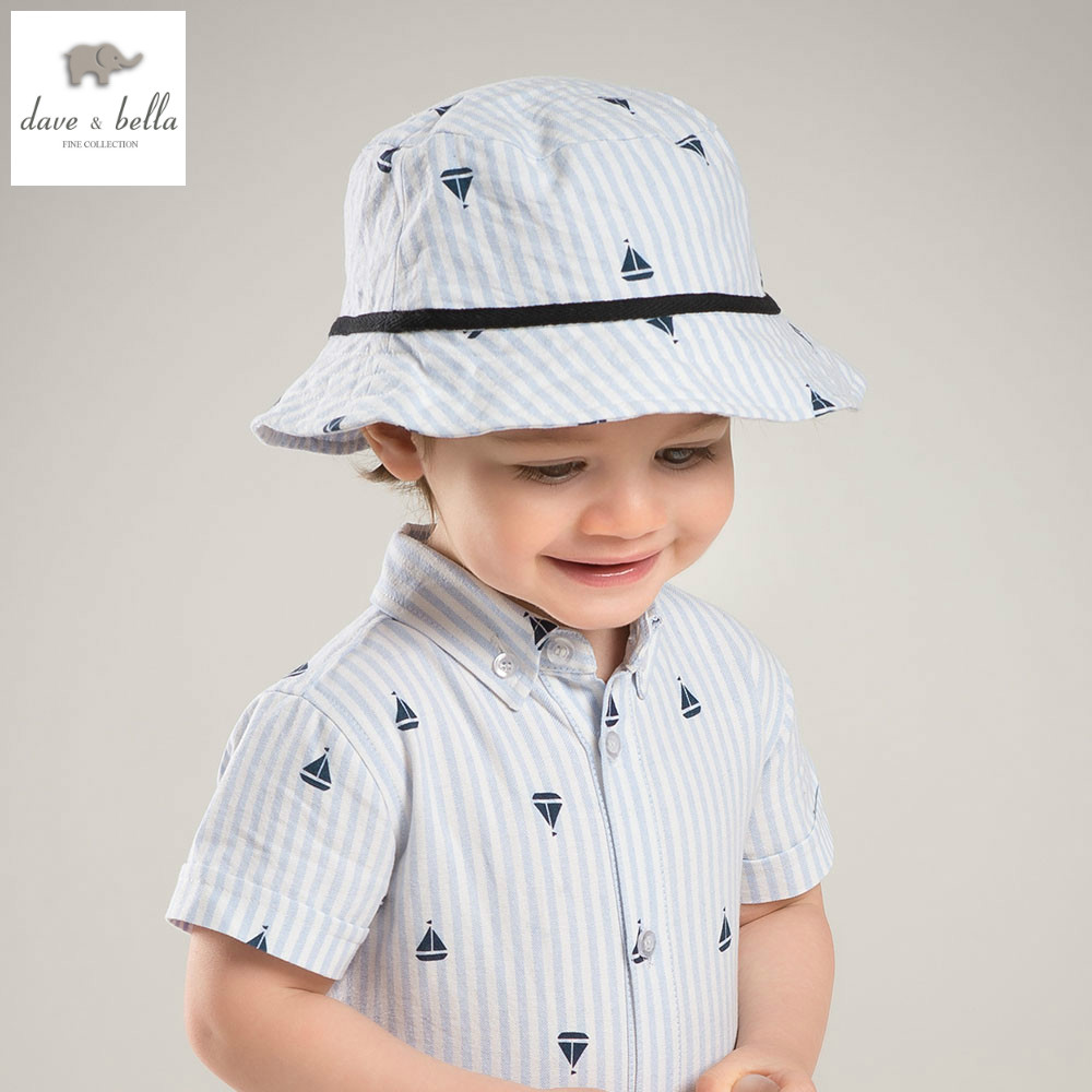 Db5873 h dave bella summer baby boys blue white stripes hat boys handsome hat boys bucket hat