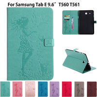 SM T560 Case Girl Cat Embossed PU Leather Case For Samsung Galaxy Tab E 9 6