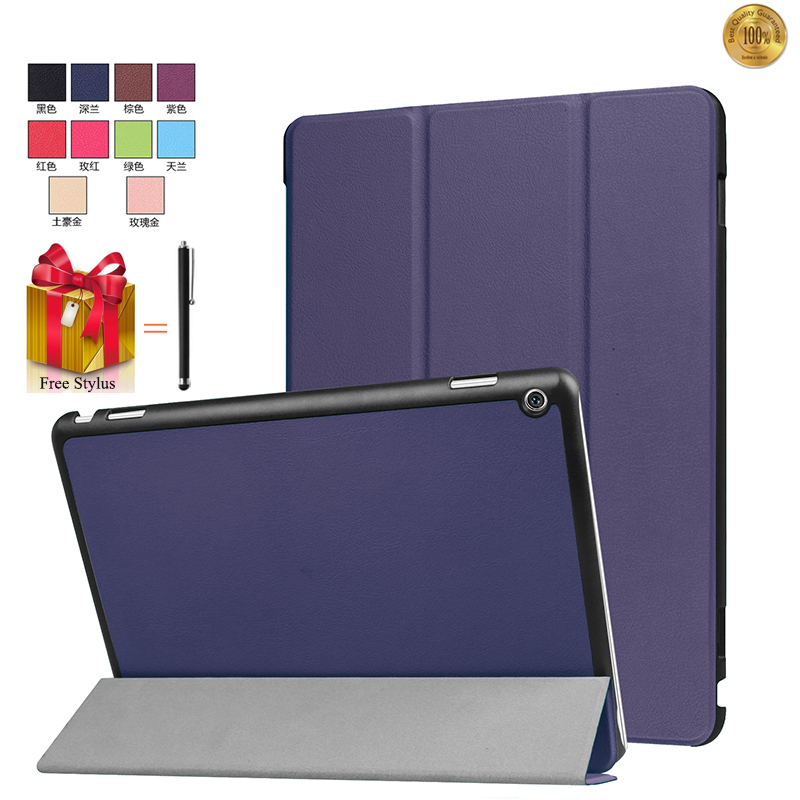 Capa For Huawei MediaPad M3 Lite 10.0 Case Flip Cover For Huawei M3 Lite 10 inch Tablet 3 Fold Stand Leather Fundas Shell+Stylus