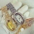 Nova Chegada Graça BS Marca De Luxo Cheio de Diamantes Pulseira de Relógio Das Mulheres de Prata Cristais Dianmond Oval Relógio de Senhora Pulseira Strass