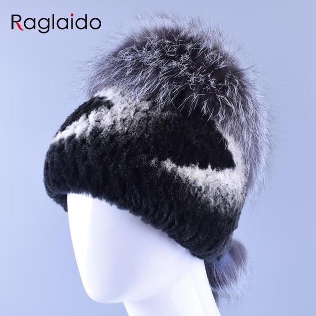 Sombreros de Invierno para Las Mujeres Real Rex Sombrero De Piel Natural de Conejo Auténtica + Piel De zorro Sombrero de la Gorrita Tejida Accesorio Bola Caliente Suave Tapas Gruesas LQ11154
