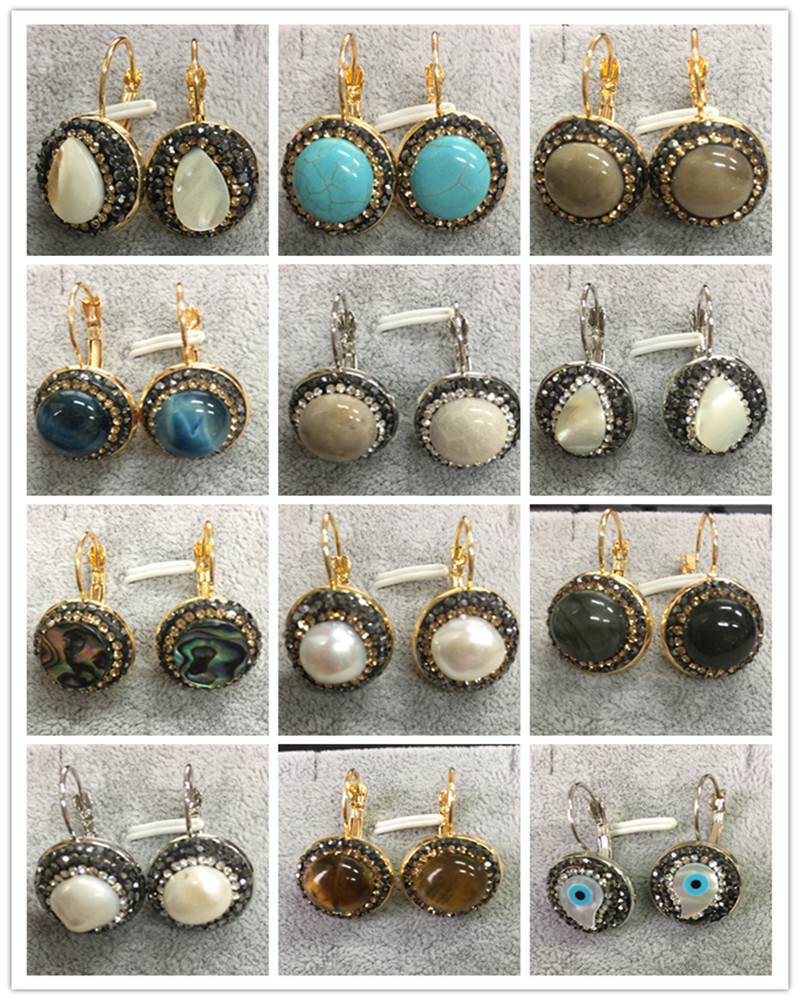 New Designer Jewelry Vintage Dangle Earrings Natural Gem Stone Pearl Shell  Inlay Rhinetsone Metal Hook Eardrop Woman Earrings