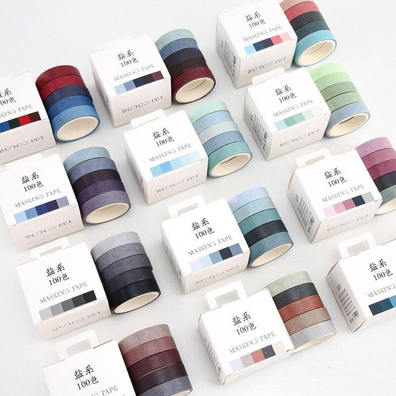 5 Pcs/pack 100 Color Basic Solid Color Paper Washi Tape Adhesive Tape DIY Scrapbooking Sticker Label Masking Tape