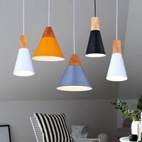 Moderne Holz Pendelleuchten Lamparas Bunte Aluminium lampenschirm Leuchte Esszimmer Lichter e27 Pendelleuchte Für Beleuchtung Für Zuhause