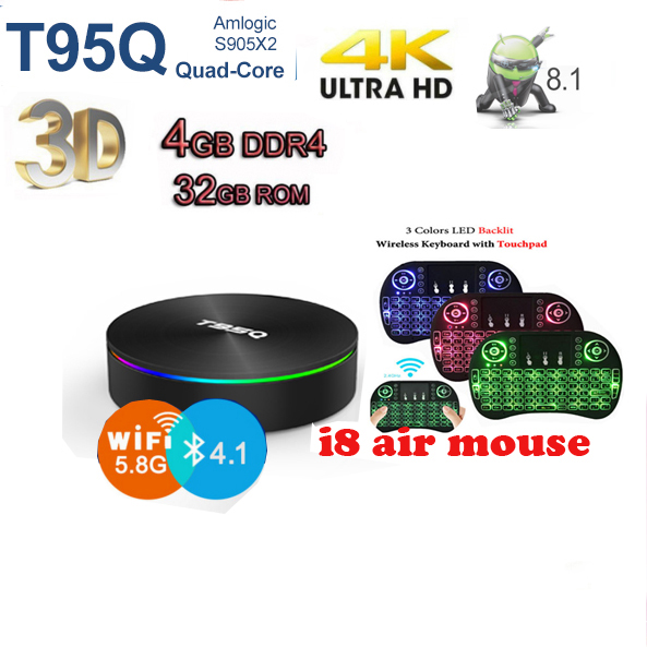 Amlogic S905X2 Android 8 1 TV BOX T95Q 4K Smart Media Player T95Q 4GB  32/64GB DDR4 Quad Core 100M