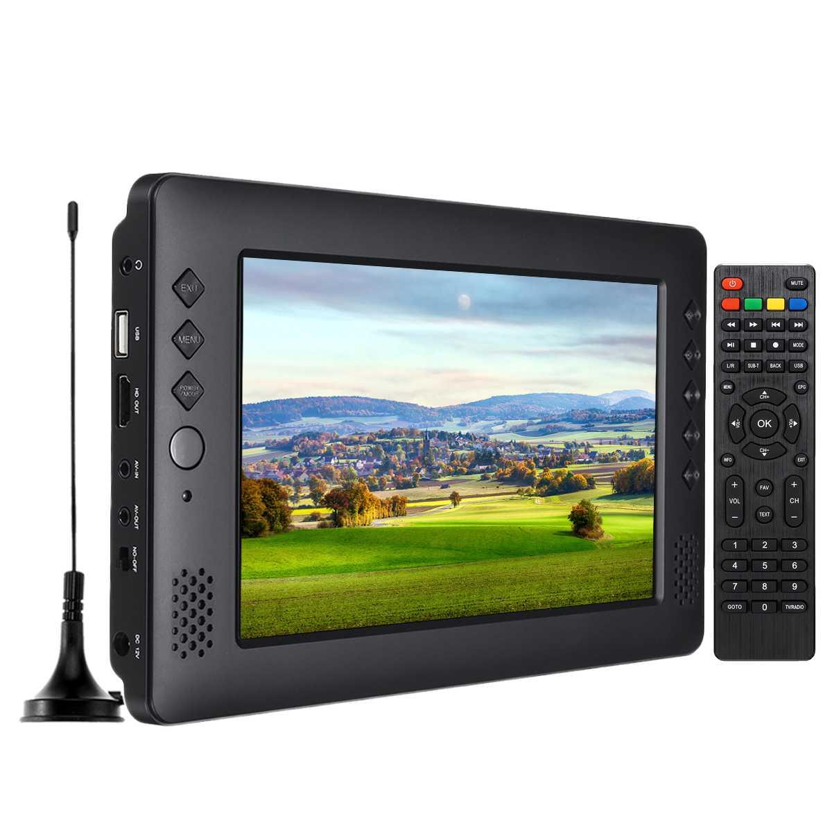 9 pouces Portable Mini TV DVB-T/T2 DTV FM HD 1080 P H.265 numérique et analogique Led téléviseurs Support MP4 AC3 HDMI moniteur