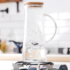 Image 3 - Handgemaakte Borosilicaatglas Water Karaf Geweldig Voor Warm Koud Water Ijs Thee En Sap Drank Rvs Of Bamboe Deksel