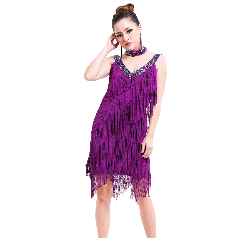 Image 4 - Free Shipping 1920s Flapper Tassel Dress Women Charleston Party Costumes for Latin Dance Dress Salsa Tango Ballroom Performance-in Latin from Novelty & Special Use