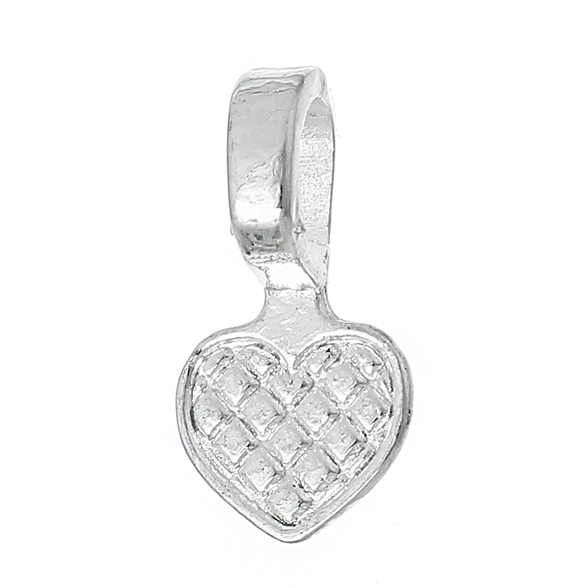 DoreenBeads Glue on Bail Charm Heart Silver color 16.8mm( 5/8