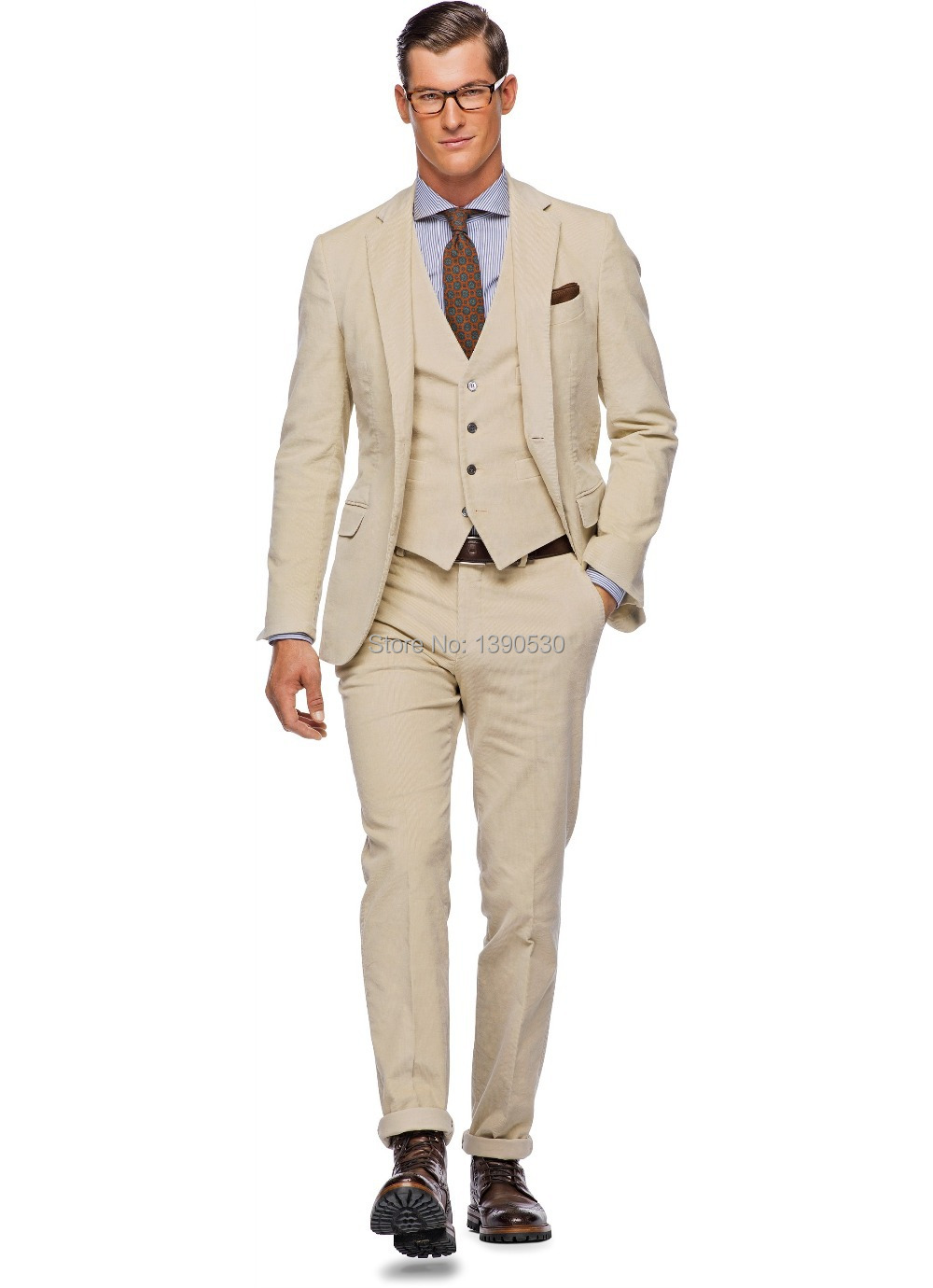 HOT SELLING 100% wool Hand made beige 3 pieces(jacket t+pants+vest) two buttons notch lapel mens dress suit