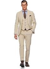 HOT SELLING 100% wool Hand made beige 3 pieces(jacket t+pants+vest) two buttons notch lapel mens dress suit