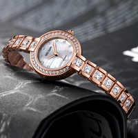 Megir Watch Women Exquisite Top Luxury Diamond Quartz Ladies Watch Stainless Steel Female Wristwatch saat relogio feminino