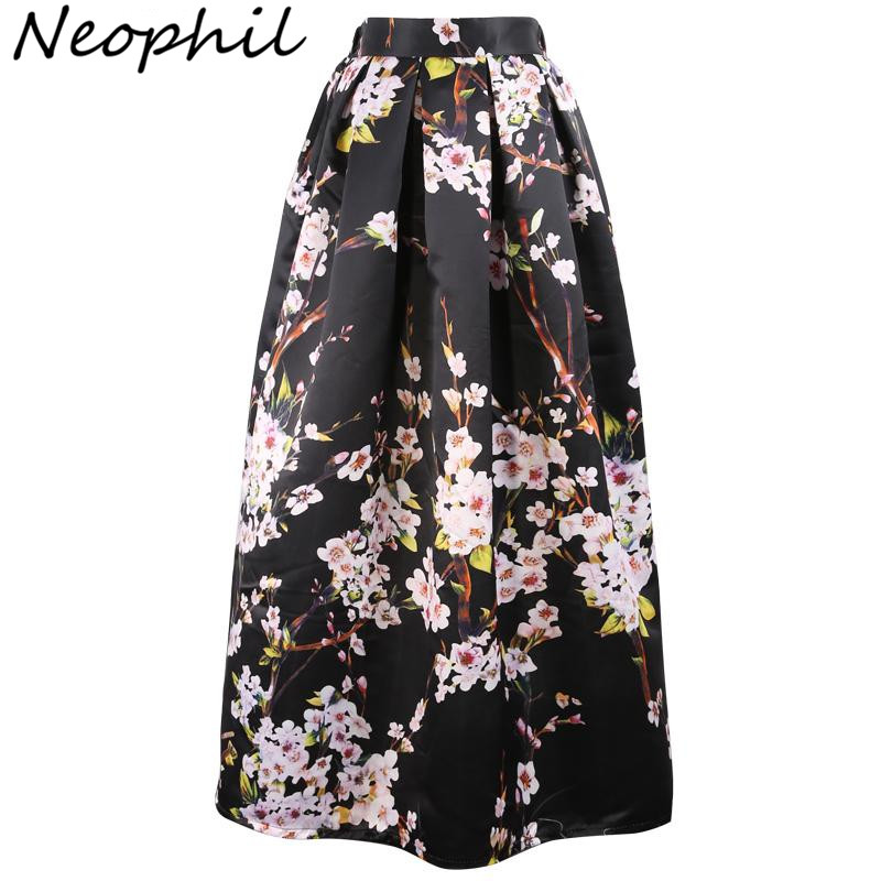 Neophil 100cm Muslim Womens Maxi Long Skirts Flower Floral Printed High Waist Ball Gown Satin Flared Floor Length Saias MS07034