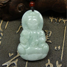 yu xin yuan fine jewelry Natural hand made jade guanyin necklace fashion charm pendantfor lovers gifts