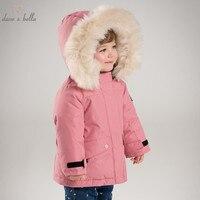 DB6328 G dave bella winter baby girls down jacket children 90% white duck down padding coat kids hooded outerwear