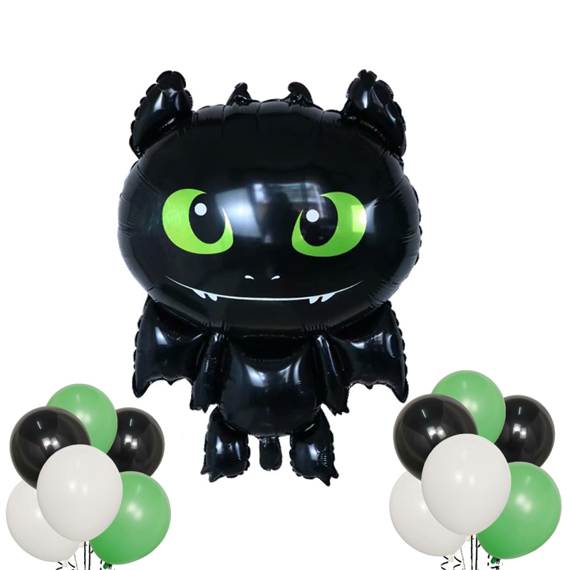 13pcs How To Train Your Tooth Balloons Black Dragon Toothless Ball Ceremony Birthday Party Baby Boy Theme Hero Decorative Toys